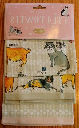 MILLY GREEN CAT BREEDS KITCHEN TOWELS 3 PC SET SIAMESE TABBY
