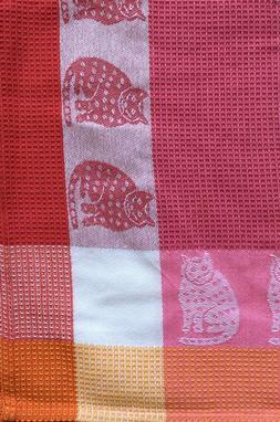Cat Kitchen Towel | Cotton Waffle Weave | Raspberry Pink Ora