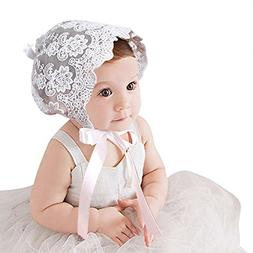 CC-US Baby Girls Princess Bonnet Lace Hat Cotton Adjustable