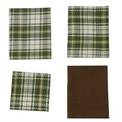 Cedarberry Dish Towel Cloth Gift Set Green Plaid Farmhouse K