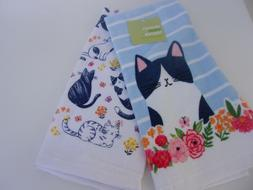 Celebrate Spring Together Cat Theme Kitchen Towels Set of 2