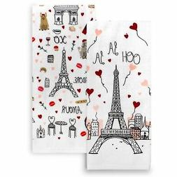 Celebrate Valentines Day Kitchen Towels 100% Cotton Red Whit