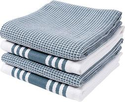 KAF Home Set of 4 Centerband and Waffle Flat Kitchen Towels