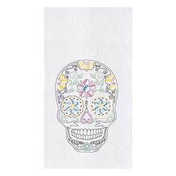 CFF Sugar Skull Day of the Dead Embroidered Flour Sack Kitch