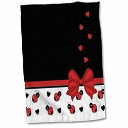 3D Rose Cute Black Ladybugs Floating Hearts Red Ribbon Towel