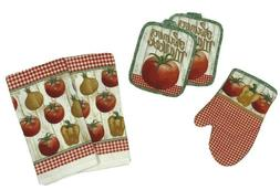 Chef Red Wine Server 5 Pc. Set Kitchen Towels Pot Holders an