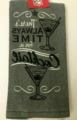 Chefs Quarters Set of 2 Kitchen Towels Time for Cocktails Gr