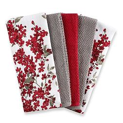 Cherry Blossom 5-Pack Kitchen Towel Set in Red/White | Each