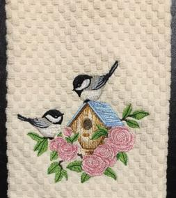 Chickadee Birds on Birdhouse Roses Flowers Embroidered Ivory