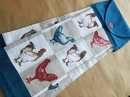 Chicken Hanging Kitchen Towel, Red White and Blue, Rooster B