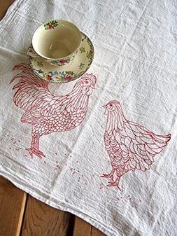 Oh, Little Rabbit Chickens Screen Printed Flour Sack Kitchen
