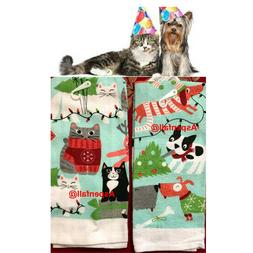 CLEARANCE SALE ~2  Dish Towels ~ Happy Party Kitty & Party P