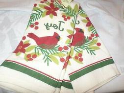 Ritz Christmas Cream Cardinal Bird & Mistletoe Kitchen Towel
