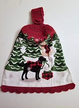 Christmas Crochet Top Hanging Kitchen Towel with Decorative