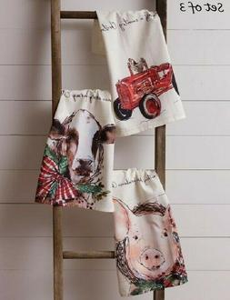 CHRISTMAS FARM Kitchen Tea Towels 3 pc TRACTOR COW PIG Farmh