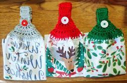 Christmas Kitchen Hand Towels, Crochet Top You Pick Design,