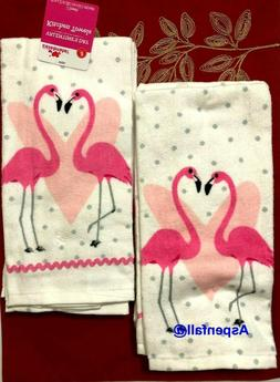 SPECIAL LOVE BIRD FLAMINGO'S~ Kitchen Towel Set~ 2 Pack~Cele