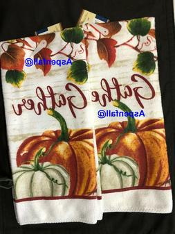 Kitchen Towel Set ~ 2 FALL GATHER TEA Towels- POLYESTER