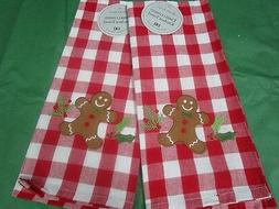 christmas kitchen towels gingerbread man towels set