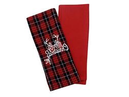 Christmas Kitchen Towels - Set of 2 - 15 x 25 Inches - Red P