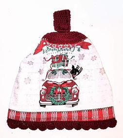 Christmas Red Truck Crochet Top Hanging Kitchen Towel with D