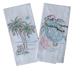 CHRISTMAS Sea Turtle & Palm Tree Embroidered Flour Sack Kitc