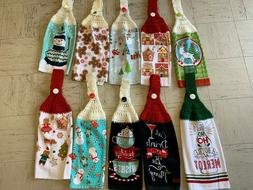 CHRISTMAS THEMED CROCHET HANGING KITCHEN TOWELS - NEW - YOU