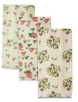 Victorian Trading Co Floral Tea Towels Set of 3 Kitchen Hand