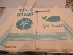 Coastal Collection Set of 4 Kitchen Towels, beach life whale