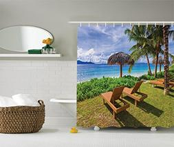 Ambesonne Coastal Decor Collection, Sunbeds at Seychelles Co