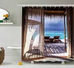 Ambesonne Coastal Decor Shower Curtain by, Luxury Romantic W