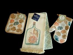 Coastal Kitchen Set 4 Pc Towels Potholder Oven Mitt Beach Ho