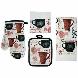 Coffee 7 Pc Set Kitchen Towels Cafe Cappuccino Potholders Ov