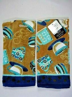 Coffee Cups Kitchen Towels Set of 2 Cup Mugs Tan Teal Blue S