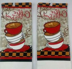 New Coffee Design Kitchen Towels 15x25 Hvy Duty Bar Mop Cott
