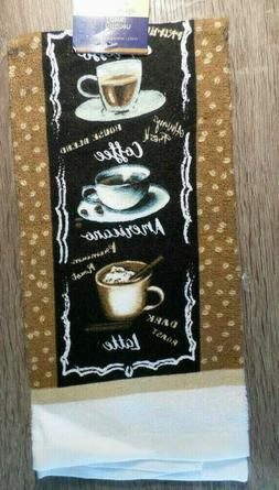 Home Collection Coffee-Themed Kitchen Towels, 15x25 in., Bro