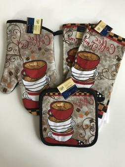 coffee time towels oven mitt pot holders