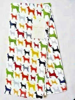 Colorful Dogs Kitchen Towels Linen Set of 2 White Gray Red Y