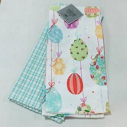 Colorful Easter Eggs & Plaid Oversized Cotton Dishtowel Kitc