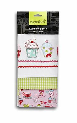 Cookstart Tea Kitchen Towels Pack of 3 - Cupcakes Pink NEW