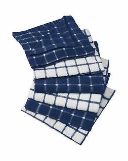 "DII Cotton Terry Windowpane Dish Cloths, 12 x 12"" Set of 6,"