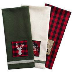 "DII Cotton Christmas Holiday Dish Towels, 18x28"" Set of 3, D"