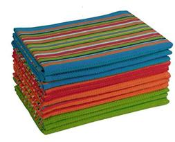 Cotton Craft 12 Pack Salsa Stripe Multi-Color Kitchen Towels
