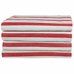 Cotton Craft - 4 Pack Basket Weave Kitchen Towels Red 100% O