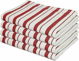 COTTON CRAFT - 4 Pack - Basketweave Kitchen Towels - Red - C