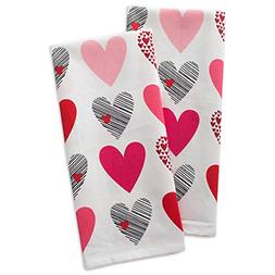 DII 100% Hearts Collage Dish Towels, Ultra-Absorbant, Machin
