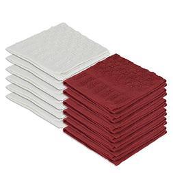 DecorRack 12 Pack 100% Cotton Dish Cloths, Kitchen Towels, 1