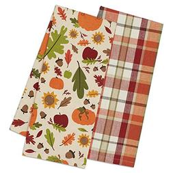 """DII Cotton Fall Thanksgiving Holiday Dish Towels, 18x28"""" Set"""