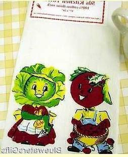 """Cotton Flour Sack Kitchen Tea Towel """"Nostalgic 50's Veggie H"""