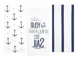 Sticky Toffee Cotton Flour Sack Kitchen Towels, Anchor and S